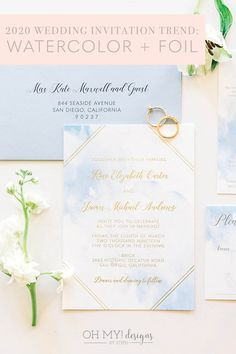 Watercolor and Foil Wedding Invitations are currently trending for 2020 weddings! Romantic wedding invitations perfect for a destination event!