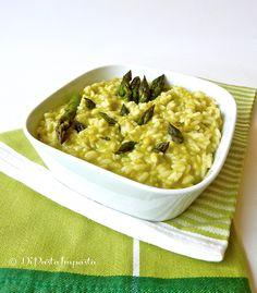 Risotto con porro e crema di asparagi