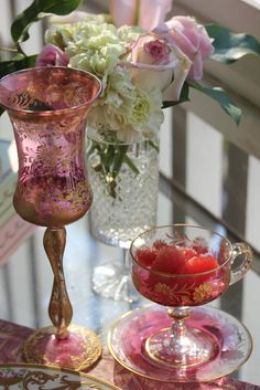 ❥ love pink and gold etched glass