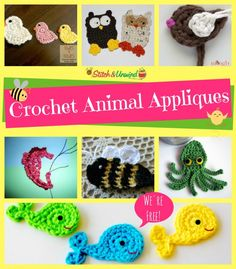 Crochet Animal Appliques 897x1024 Add Flair To Your Afghans: Free Crochet Applique Patterns flowers Halloween and more #crochet appliques