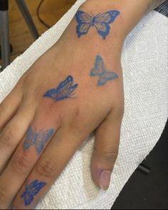 Girly Hand Tattoos, Pretty Hand Tattoos, Blue Ink Tattoos, Butterfly With Flowers Tattoo, Butterfly Hand Tattoo, Small Finger Tattoos, Blue Tattoo, Mini Tattoos, Cute Tattoos