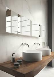 Marble, natural wood floating vanity, circle vessel, black
