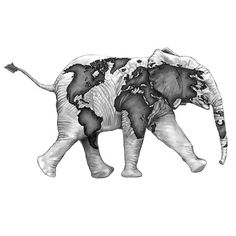 A nice tattoo design of an elephant with world map printed on it. Color: Gray. Tags: Nice