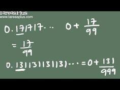 Convertir decimales periodicos en fracciones de forma rápida Decimal, Arabic Calligraphy, Math Equations, Trigonometry, Engineering, Shape, Law Of Cosines, Fractions, Finance