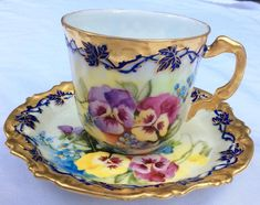 Coiffe & Touron France Pansies Cup and Saucer Tea Cup Set, My Cup Of Tea, Tea Cup Saucer, Tea Sets, Antique Tea Cups, Vintage Cups, Teapots And Cups, Teacups, China Tea Cups