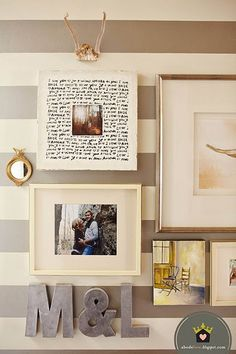 Silvery gray and white stripes with lovely scattered frames. A tad chunkier of a stripe wouldn't hurt either