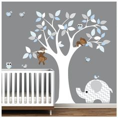 Children Wall Decal Nursery Vinyl Wall Stickers Wall Decals Monkey Owls – baby world Kids Wall Decals, Nursery Wall Decals, Vinyl Wall Stickers, Nursery Room, Baby Room Wall Stickers, Girl Nursery, Baby Bedroom, Baby Boy Rooms, Baby Room Decor