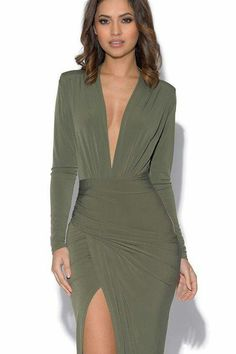 Khaki Plunge Neckline Celebrity Inspired Maxi Dress - Khaki Plunge Neckline Celebrity Inspired Maxi Dress Source by RoteRosenX - Mode Outfits, Skirt Outfits, Chic Outfits, Dress Skirt, Sexy Maxi Dress, Sheath Dress, Lace Dress, Fall Dresses, Elegant Dresses