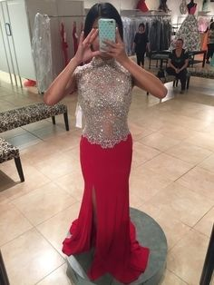 New and beautiful red La Femme prom dress!! - vinted.com