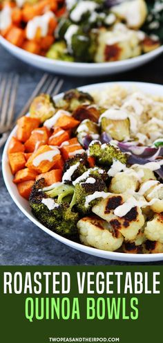 Want an easy meal prep recipe for lunch? Try this Roasted Vegetable Quinoa Bowls with Lemon Tahini Dressing. These easy roasted vegetable quinoa bowls are great for lunch or dinner! They are gluten-free, vegan, and great for meal planning. Make on Sunday and eat all week!