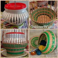 Plastic coffee can template Recycle Newspaper, Newspaper Basket, Newspaper Crafts, Weaving Loom Diy, Paper Weaving, Hobbies And Crafts, Diy And Crafts, Arts And Crafts, Willow Weaving