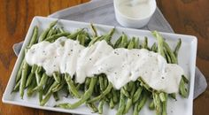 Gluten free Roasted Green Beans with Yogurt Dressing