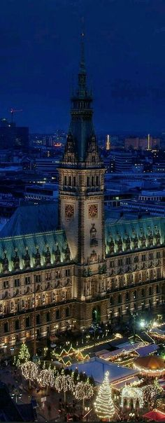 Hamburg - This beautiful night pic shows the Christmas Market.  All German towns/villages/cities have Christmas Market(s) which come alive after dark.  Have a hot mulled wine and sausage and visit the booths and vendors or just visit.