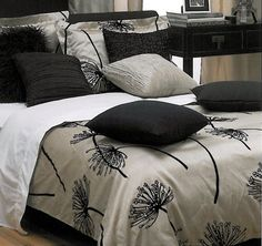 This champagne & black color combo || Dandelion by Kouchini at Bedding Super Store.com