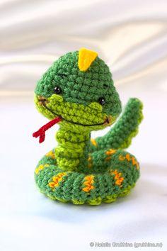 Crochet smiling snake