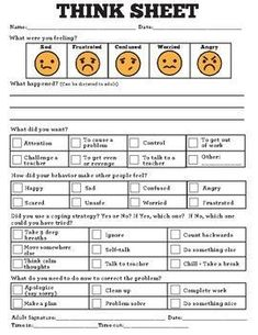 This is a great tool for special education and general education students who need to reflect on their behavior and learn to make better choices. Behavior Reflection Think Sheet Special Education Behavior, Classroom Behavior Management, Behaviour Management, Behaviour Chart Classroom, Physical Education, Elementary Special Education, School Behavior Chart, Classroom Consequences, Middle School Behavior