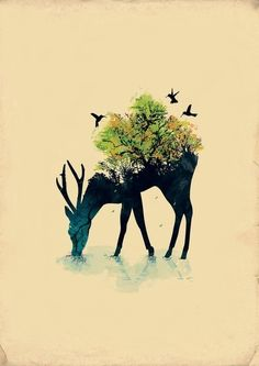 bird, deer, nature, painting