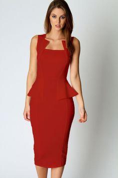 Abi Neck Detail Sleeveless Midi Dress In Red LAVELIQ