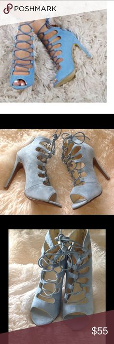 """Faux suede sky blue lace up heels BRAND NEW No Box From ENGLAND Brand new/no box Sky blue faux suede lace up heels. 4 """" heel. UK 5 US size 7. True to size. Similar to Zara, but Chic brand. Zara Shoes Heels"""