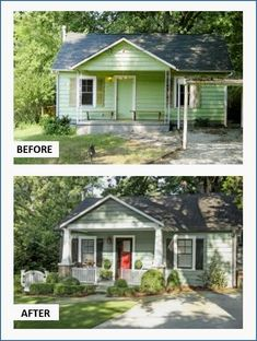 This Depression-era cottage was licking its wounds in a quiet Atlanta neighborhood. Spiffy black paint revived the original windows. The homeowner's dad helped make the complementary board-and-batten Home Exterior Makeover, Exterior Remodel, Exterior Home Renovations, Exterior Renovation Before And After, Diy Exterior, Exterior Paint, Exterior Design, Renovation Facade, Cottage Renovation