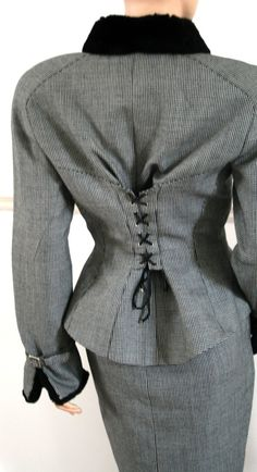 THIERRY MUGLER vintage 90s tweed check & fur retro 40s corset skirt SUIT   http://www.ebay.com/itm/THIERRY-MUGLER-vintage-90s-tweed-check-fur-retro-40s-corset-skirt-SUIT-8-6-40-/230900207354