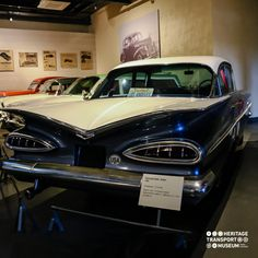 A 1959 Chevrolet Belair Sedan, the car that was famous for featuring its stylish 'Batwings'! #chevrolet #belair #vintagecars #vintagecollection #carcollection #transportmuseum #incredibleindia