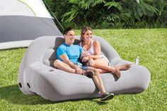 What is the Best Inflatable Camping Sofa, Double Sofa Bed Sleeper or Corner Sectional for Camping & How to Inflate Your Outdoor Furniture at Your Campsite Camping Glamping, Camping Gear, Outdoor Camping, Outdoor Sofa, Campsite, Inflatable Furniture, Inflatable Chair, Camping Furniture, Backyard Furniture