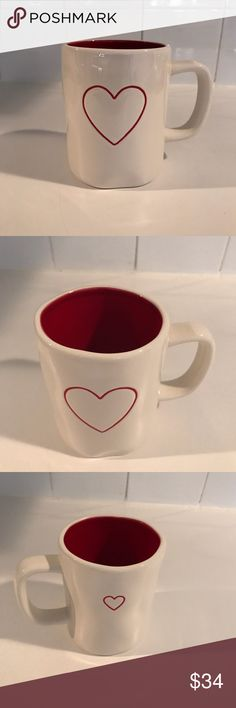 New Rae Dunn Heart Mug Red Interior New Rae Dunn Heart mug Large heart on front with small heart on back Red interior  Authentic No chips or cracks More Rae Dunn will be listed Rae Dunn Other