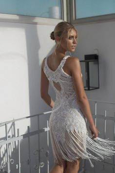 fringe bridal dress