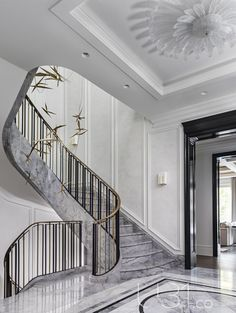 Hallway and Marble Floor Foyer Photo 4 of 15 in Country Estate by Design Country Interior Design, Classic Interior, Contemporary Interior Design, Decor Interior Design, Interior Decorating, Modern Contemporary, Decorating Tips, Modern Hall, Modern Coastal