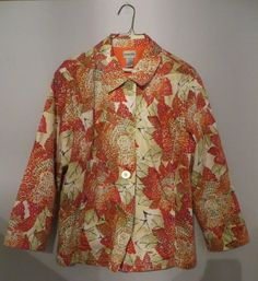 CHICOS Poppy Red Orange Sequins Floral Cotton Stretch Blazer Jacket 3 L #Chicos #Blazer