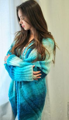 Blue Cardigan, Women's Sweaters, Handmade Clothes, Jumpers, Fur Coat, Knitting, Sexy, Clothing, Beautiful
