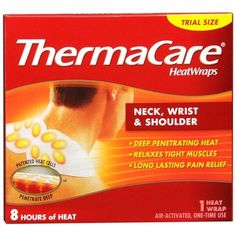 ThermaCare Heat Wraps: Neck, Wrist & Shoulder, 1-Count (Pack of 9). Directions: Tear open pouch when ready to use. Additional warnings are included in the package insert. Check skin frequently during use. When using this product: Check skin frequently for signs of burns or blisters - if found, stop use. On areas of the body where you can't feel heat. Do not use:	With pain rubs, medicated lotions, creams or ointments. Ask a doctor before use if you have: Diabetes, poor circulation or...