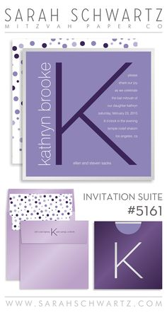 Purple initial Bat Mitzvah invitation suite with polka dots