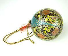 Papier Mache Ball Ornament - 2.5 inch - Blue Hope - CFM (H)