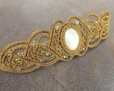 Macrame Bracelet White Mother Of Pearl With Golden от neferknots
