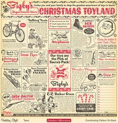 adorable vintage inspired Christmas scrapbook paper