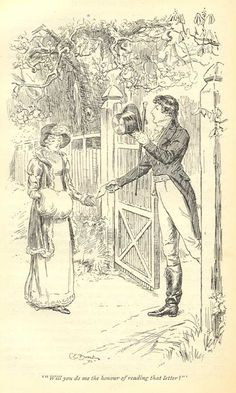 """Mr. Darcy's Feelings; Or, More on the Inner Life of Jane Austen's Hero…Part II."" C. E. Brock illustration. ""Almost as soon as I entered the house I singled you out as the companion of my future life."" P&P. Macmillan, 1895. Volume I, Ch. 19 [Mollands]"