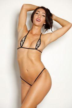 cb99a3ee2c937 Sexy Model Kristina Lynn-Bitsys Bikinis Nude Gold Glitter Black Leopard  Animal Print Teardrop Bikini