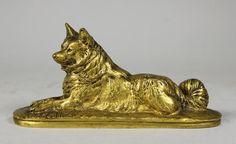 Emmanuel FRéMiET (1824-1910) Loulou, chien couché. Epreuve en bronze
