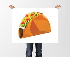 Low Poly Taco Print, Taco Art, Taco Tuesday, Geometric Food Art, Digital Download, Polygon Poster, Mexican Food, I love Tacos, Kitchen Art by tothewoodside on Etsy