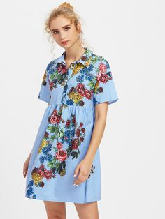 Shop Flower Print Half Placket Smock Dress online. SheIn offers Flower Print Half Placket Smock Dress & more to fit your fashionable needs.