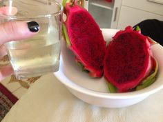 Dragon fruit, with lemon and cucumber infused water