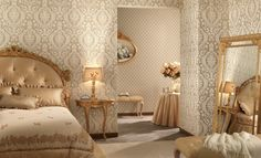 Luxurious Gold And Brown Bedroom Decoration For Women With Classic Bed And Floor Standing Mirror Also Space For Grooming Room Bedroom decoration ideas for women Bedroom design http://seekayem.com