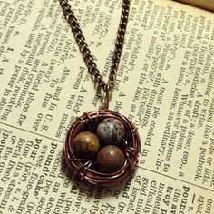 HANDMADE Copper Bird's Nest Necklace with Earth-tone Eggs ($15)
