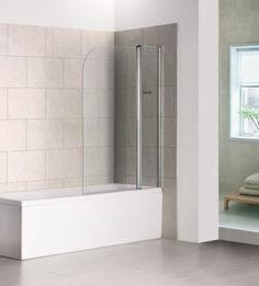 Pivot Chrome Shower Screen Glass Bath Screen Aica