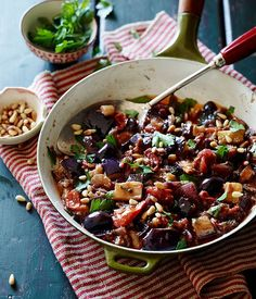 Caponata by Pete Evans from Gourmet Traveller. I roasted the eggplant with EVOO, then added it and all the other ingredients to the crockpot and cooked on low 4-5 hours. The result was creamy, like Baba Ghanoush, with big briny bites of olive.