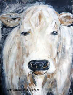"""Latte the Cow Print This piece is an 8×10 print of my original acrylic painting, """"Latte"""".  All of my prints are printed using high quality inks onacid free,fine art paper. available exclusively at The Little Bluebird Gallery by Amanda Hilburn. #art #artprint #artists #homedecor #affordableart #artbyamandahilburn #farmart #farms #farm #cows"""
