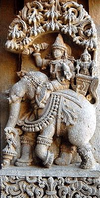 Indra Riding Airaawat - Indra is the god of rain and thunder, and the weather is at his command supplying rains in the universe. As controller of the megha (cloud), he is master of the clouds and is also known as Maghavan.