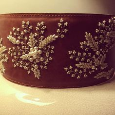 Gorgeous pearl detailing on our tan leather belt is everything that you need this season Leather Embroidery, Zardozi Embroidery, Pearl Embroidery, Kurti Embroidery Design, Tambour Embroidery, Bead Embroidery Patterns, Hand Work Embroidery, Flower Embroidery Designs, Embroidery Fashion